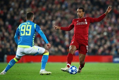 Liverpool playing against SSC Napoli during the UEFA Champions League Group stages.