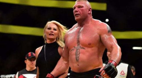 Sable accompanying Lesnar to the ring