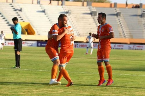 Chennai City's (from left) Pedro Manzi, Nestor Gordillo, and Sandro Rodriguez have been the key players in their I-League campaign