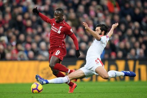 Keita under pressure during Liverpool's dramatic win over Crystal Palace last month