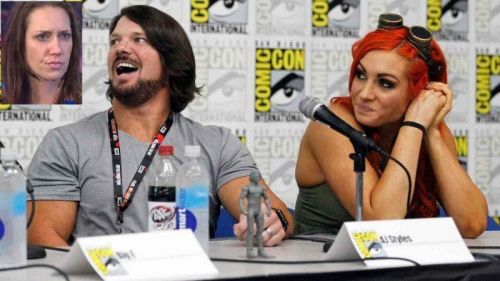 AJ Styles (left) with Becky Lynch (right)