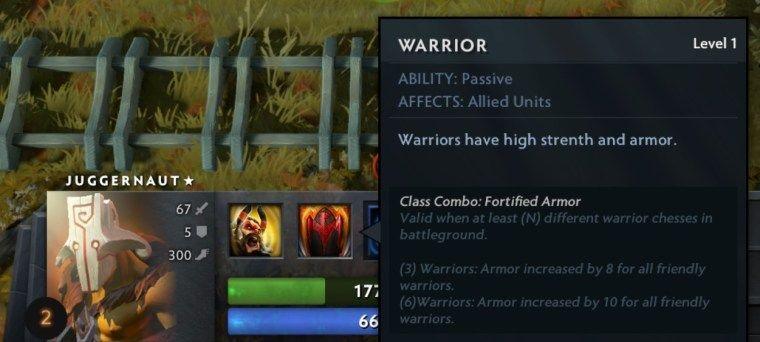 Hero Class: Warrior Dota Auto Chess