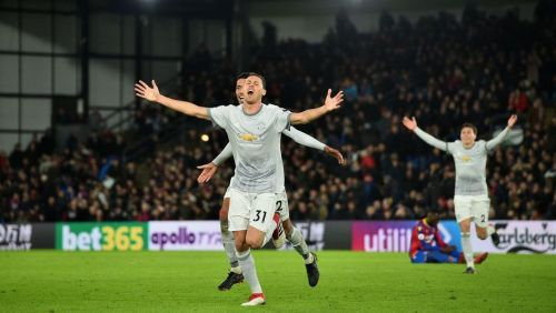 Nemanja Matic celebrates after scoring against Crystal Palace