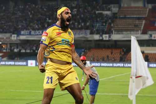 Sandesh Jhingan of Kerala Blasters after the game against Bengaluru FC (Image: ISL)
