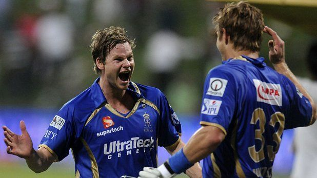 Steve Smith (left) celebrates with Shane Watson of Rajasthan Royals