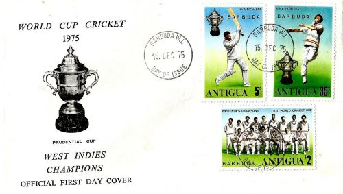 A special set of stamps released by Barbuda on West Indies' triumph