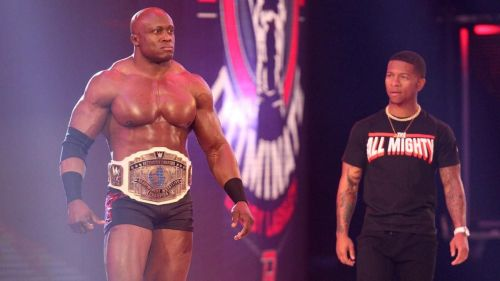 Suddenly, Intercontinental Champion Bobby Lashley and Lio Rush interrupt Finn.