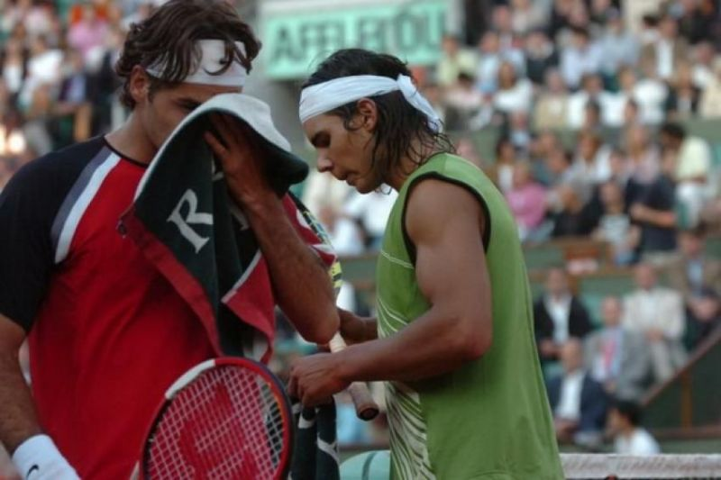 Roger Federer and Rafael Nadal at the 2005 French Open