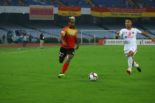 Jobby Justin (left) of East Bengal in action against Aizawl FC