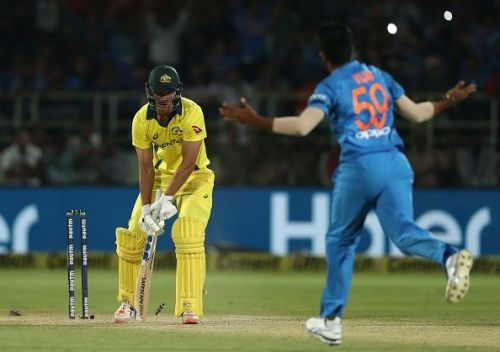 In Vijay Shankar's jersey, but the yorkers are Bumrah-like, an