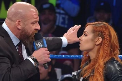 Triple H confronts Becky Lynch on SmackDown Live