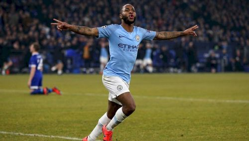 Sterling wheels away to celebrate his last-gasp winner as City recovered a 2-1 deficit in Germany