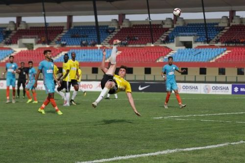 Mason Robertson of Real Kashmir with an overhead kick against Indian Arrows during their I-League match
