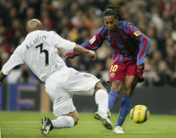 Ronaldinho scoring his first of the evening at the Bernabeu in 2005.
