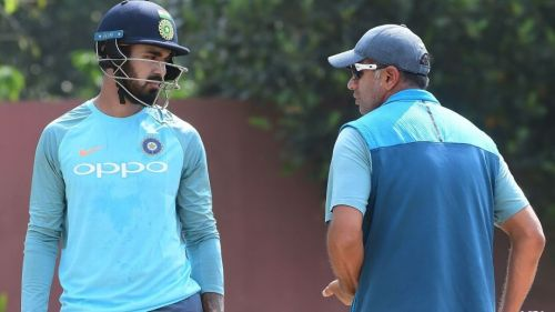 KL Rahul in conversation with India A head coach Rahul Dravid