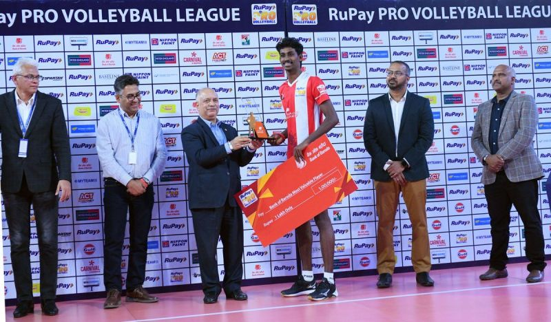 Ajith Lal C finished the league as the Most Valuable Player of the RuPay PVL 2019