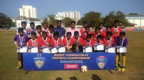 Jeppiaar, winners of the Boost Chennaiyin FC Football Championship (U-15)