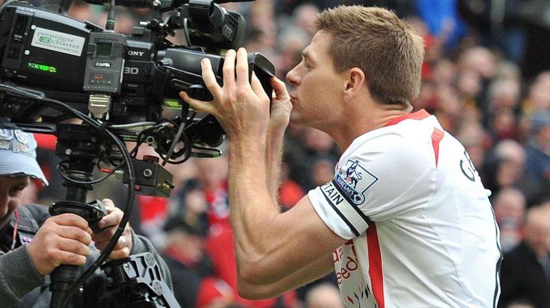 Gerrard kissing cameras