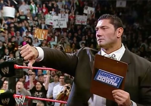 The infamous contract signing on Raw, when Batista turned on Triple H