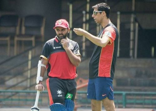Parthiv Patel and Ashish Nehra during an RCB practice session (File photo - credit: RCB Instagram)