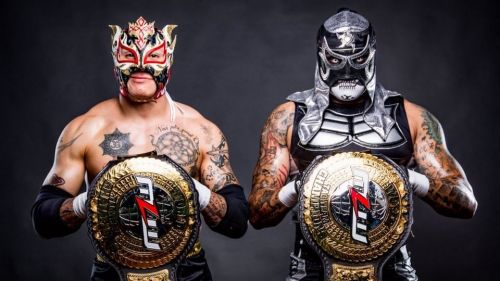 Pentagon Jr. and Fenix with the MLW (Major League Wrestling) Tag Team Championships.