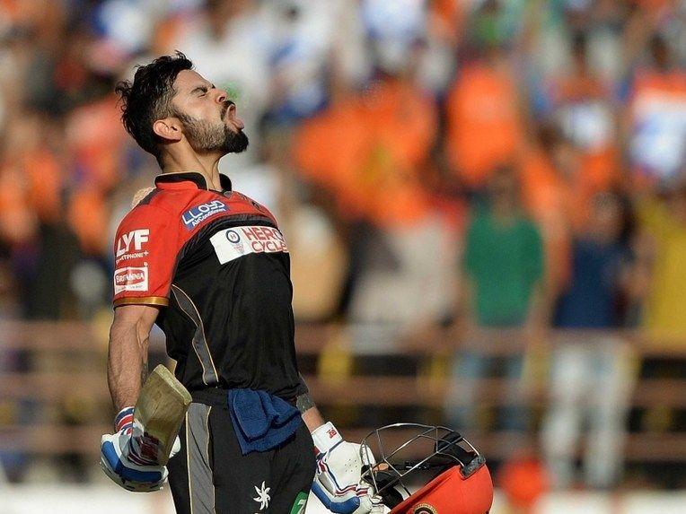 Virat Kohli after his ton against Gujarat Lions in 2016