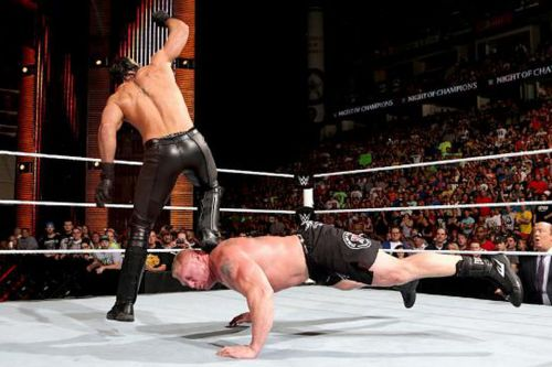 Seth Rollins Curb Stomps to Brock Lesnar