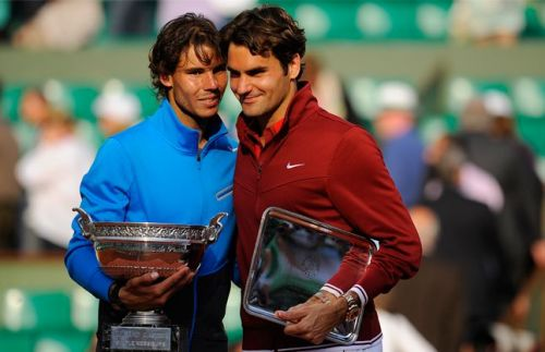 Nadal and Federer at the 2011 French Open