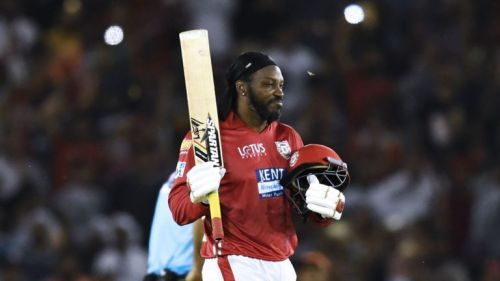 Chris Gayle celebrating his century