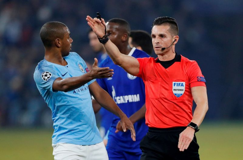 VAR controversy marred the Schalke-City game as Otamendi was penalised for handball after deliberation