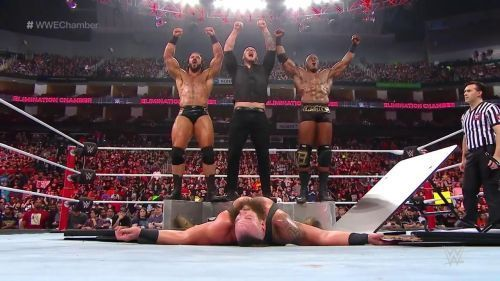 The trio decimated Strowman at Elimination Chamber