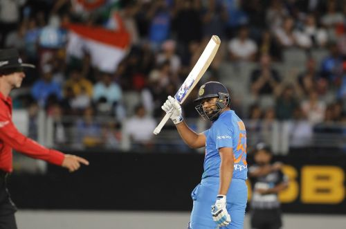 Auckland (New Zealand): Indian captain Rohit Sharma celebrates his half-century during the second T20I match between India and New Zealand at Eden Park in Auckland, New Zealand on Feb 8, 2019. (Photo: Surjeet Yadav/IANS)