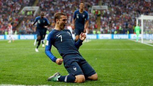 The Frenchman celebrating his goal in Russia 2018