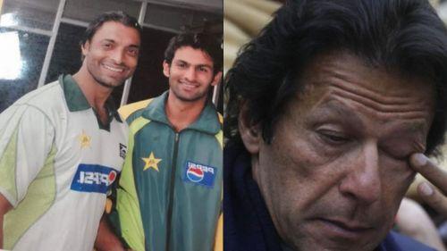 Shoaib Malik and Shoaib Akhtar (L), Imran Khan (R)