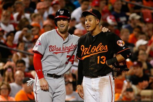 Bryce Harper and Manny Machado during a game at Oriole Park at Camden Yards