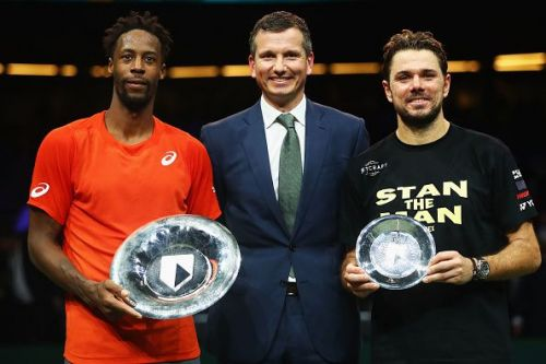 Gael Monfils with the Rotterdam Open trophy