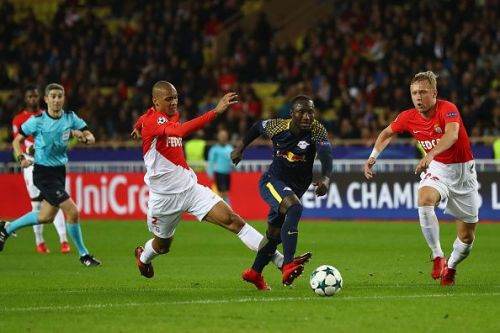 Keita in Champions League action for Leipzig against AS Monaco in a 2017 group stage clash