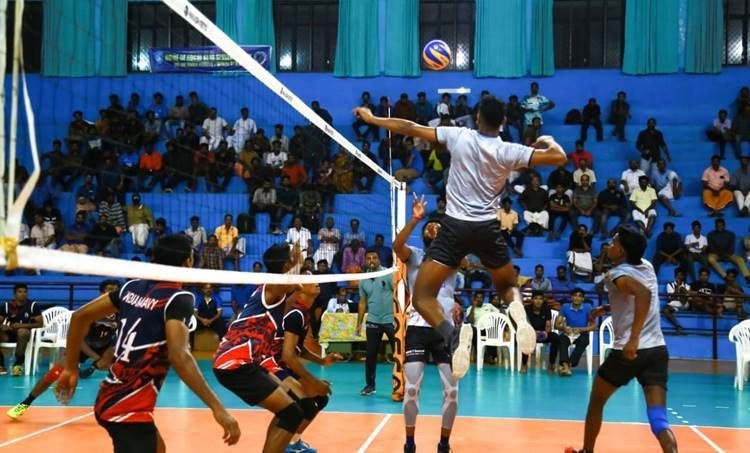 The Blue Spikers team in action against the Indian Navy
