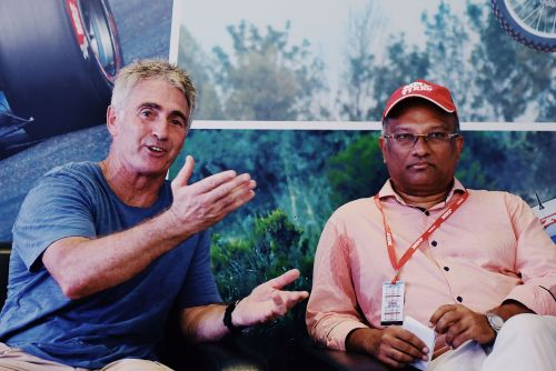 Mick Doohan with the MD of MRF