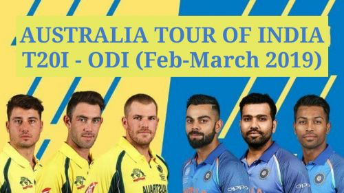 Australia will tour India for two T20I and five ODI's.