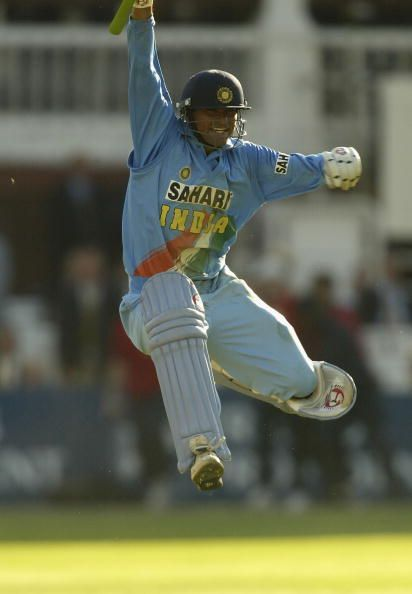 Mohammad Kaif exults after a memorable victory in the Natwest final against England