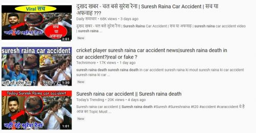 A screengrab of some of the YouTube channels spreading fake news