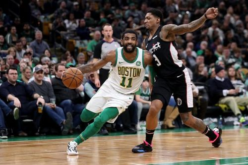 Kyrie Irving in action for the Celtics.
