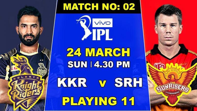 Kolkata Knight Riders will host Sunrisers Hyderabad in the second fixture of IPL 2019