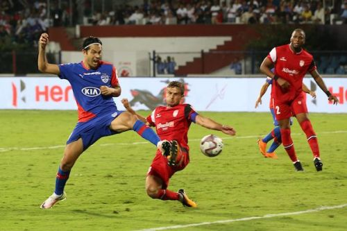 Miku scores for Bengaluru against NorthEast United in the second leg of the ISL semifinal