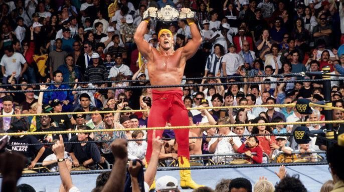 Hulk Hogan hefts the WWE Title over his head. Guess how long it took the Hulkster to win it?