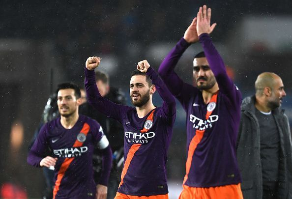 Bernardo Silva (centre) was City's Man of the Match on a night where they needed to dig deep and recover