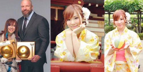 Kairi Sane (left) has received a ton of praise from NXT founder Triple H (second from left) on several occasions