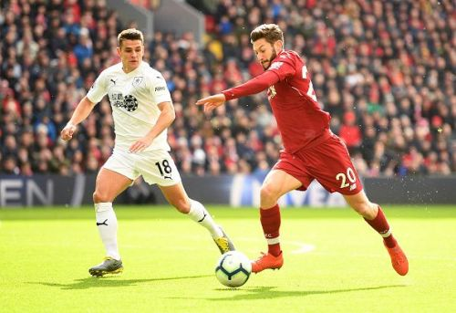 Adam Lallana in action against Burnley in the Premier League