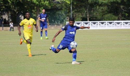 Chennaiyin FC's Francisco Fernandes in action against Colombo FC during the first leg of their AFC Cup playoff tie in Colombo